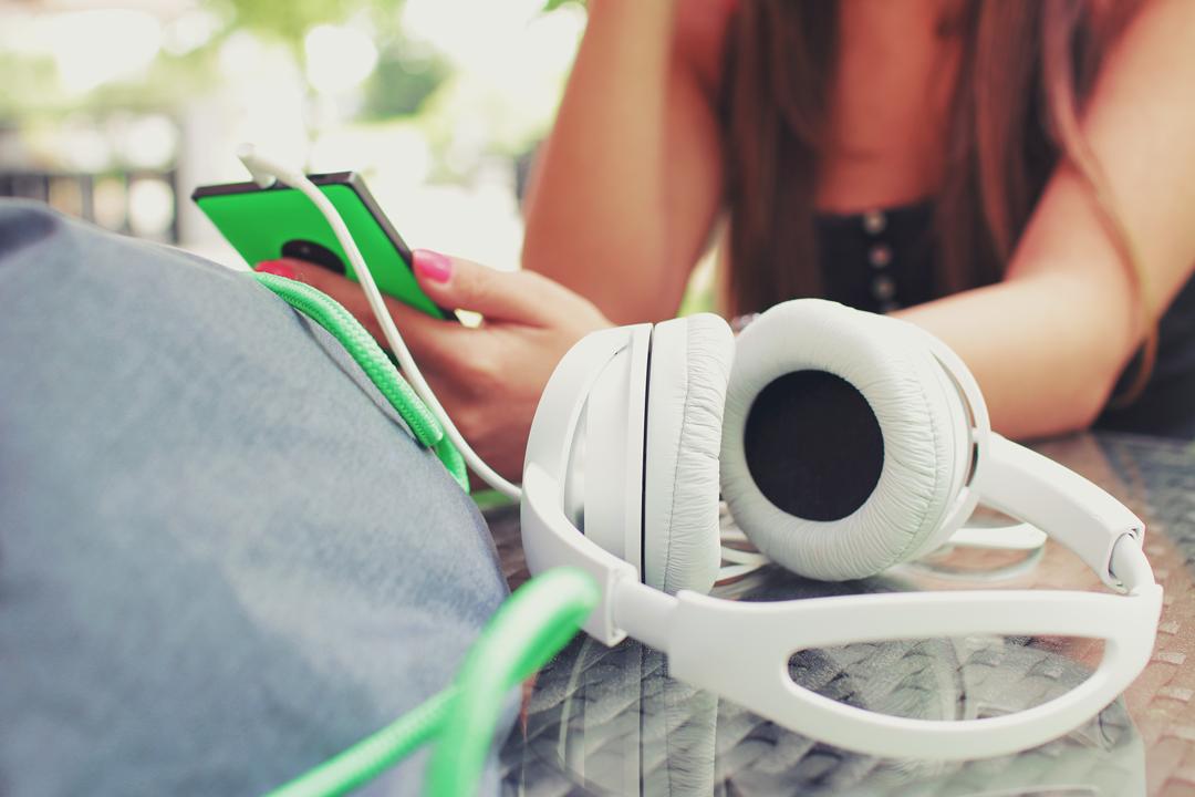 headphones on table